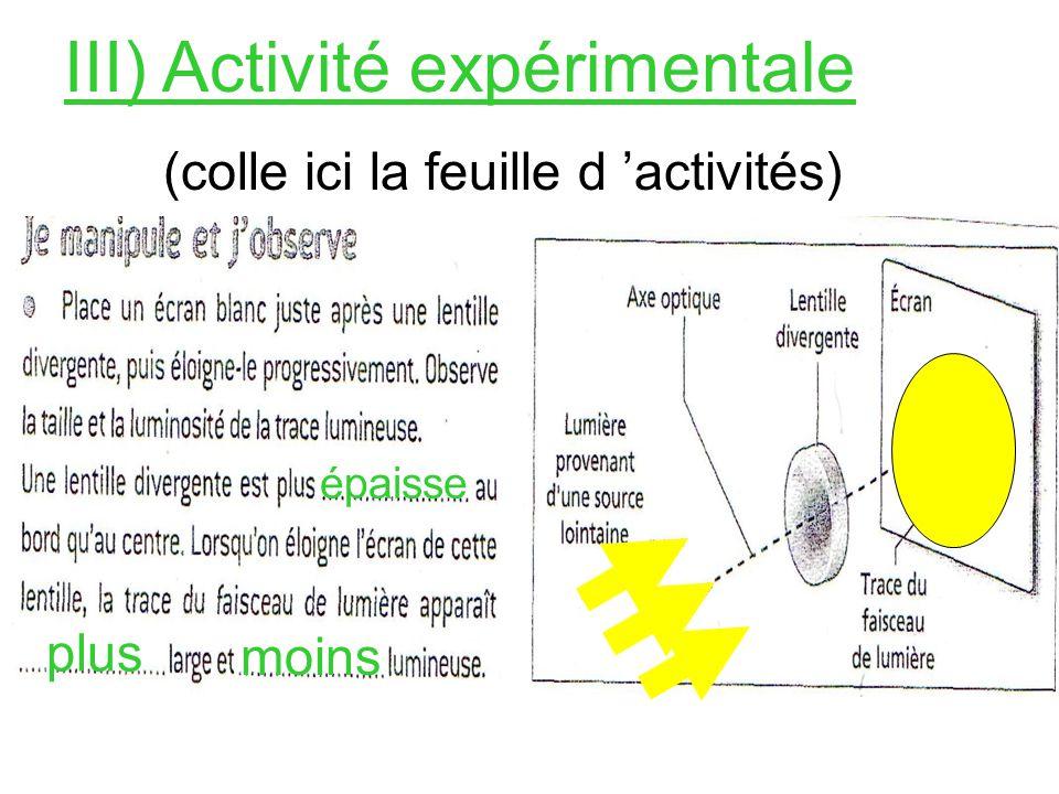 III) Activité expérimentale