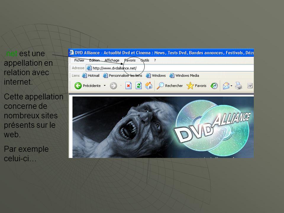 .net est une appellation en relation avec internet.