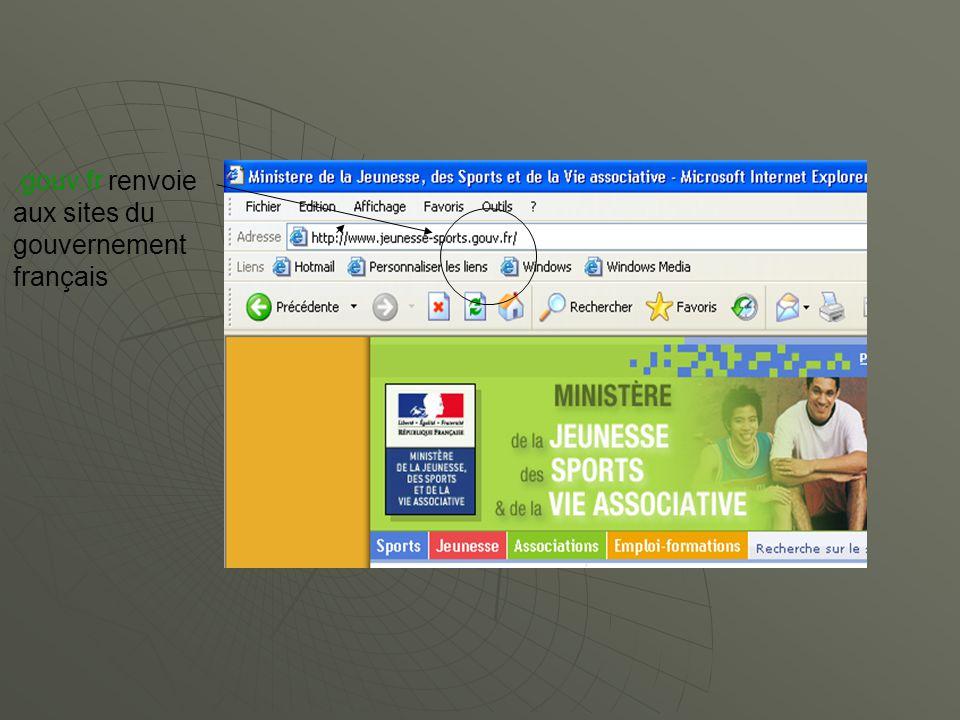 .gouv.fr renvoie aux sites du gouvernement français