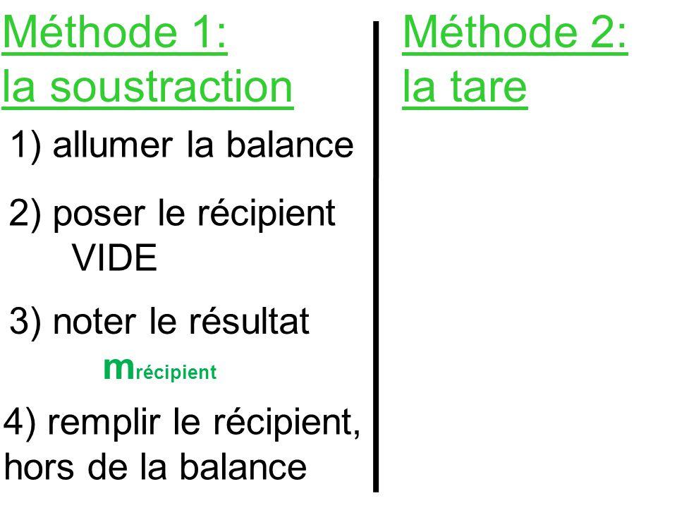 Méthode 1: la soustraction Méthode 2: la tare 1) allumer la balance