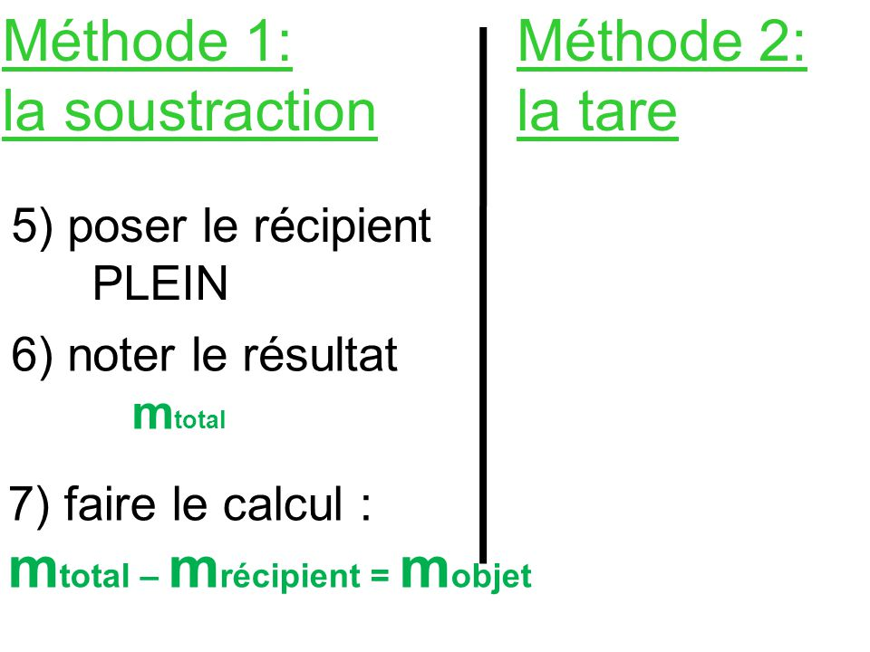 Méthode 1: la soustraction Méthode 2: la tare