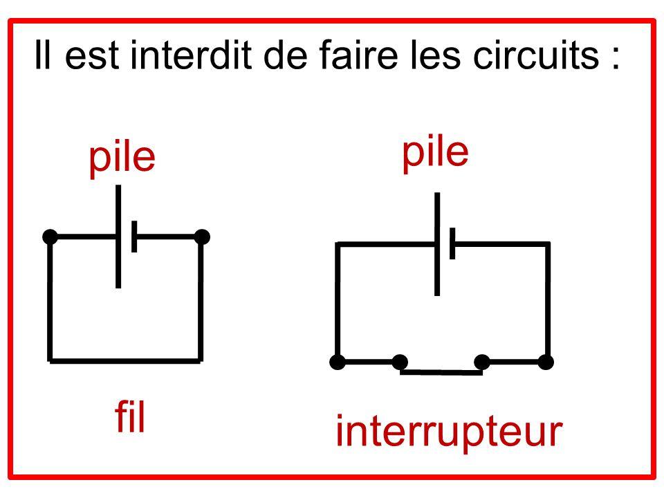 Il est interdit de faire les circuits :