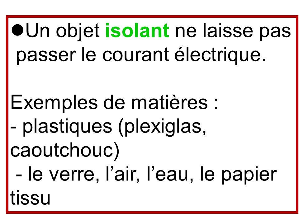 Un objet isolant ne laisse pas passer le courant électrique.