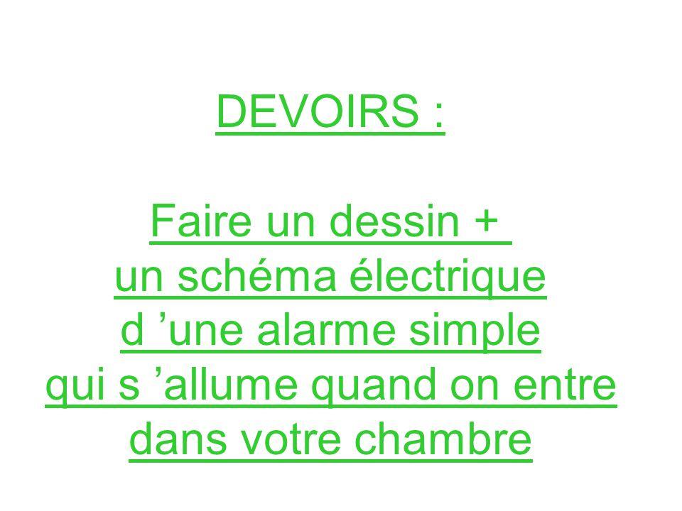 DEVOIRS : Faire un dessin + un schéma électrique d 'une alarme simple qui s 'allume quand on entre dans votre chambre.