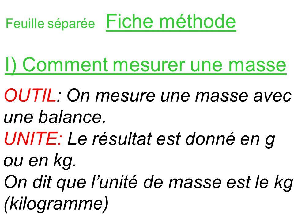 I) Comment mesurer une masse