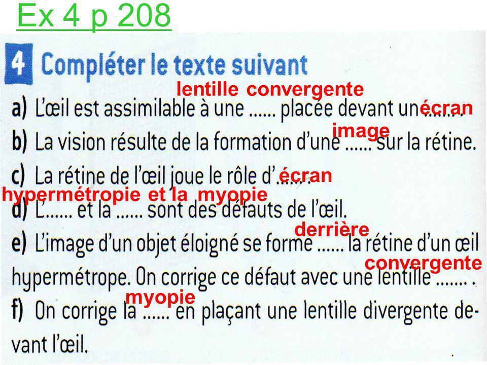 Ex 4 p 208 lentille convergente écran image écran hypermétropie et la