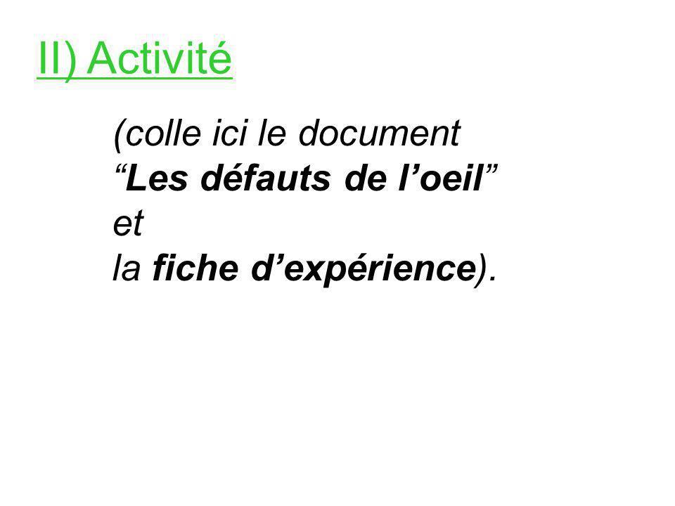 II) Activité (colle ici le document Les défauts de l'oeil et