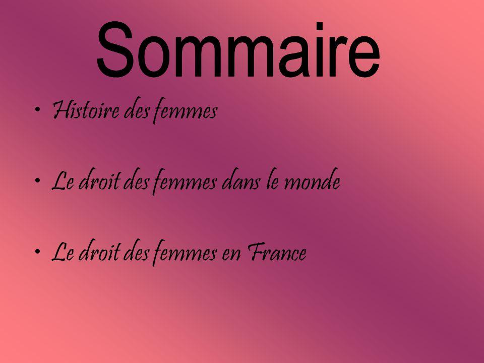 Le droit des femmes dans le monde Le droit des femmes en France