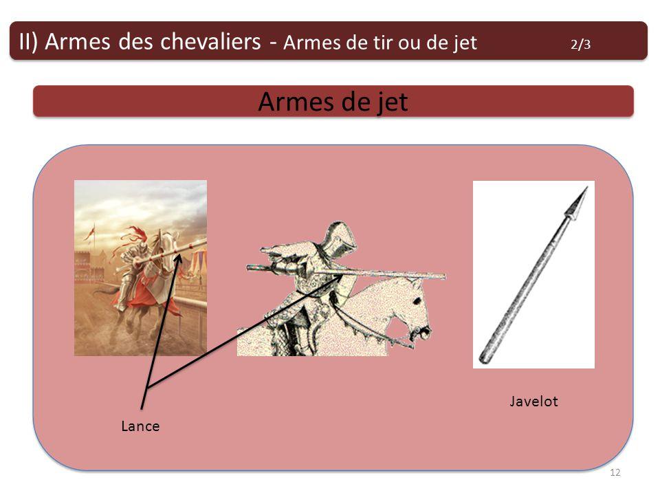 Armes de tir ou de jet Armes de jet