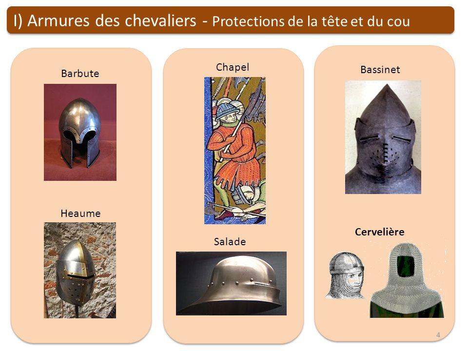 I) Armures des chevaliers - Protections de la tête et du cou
