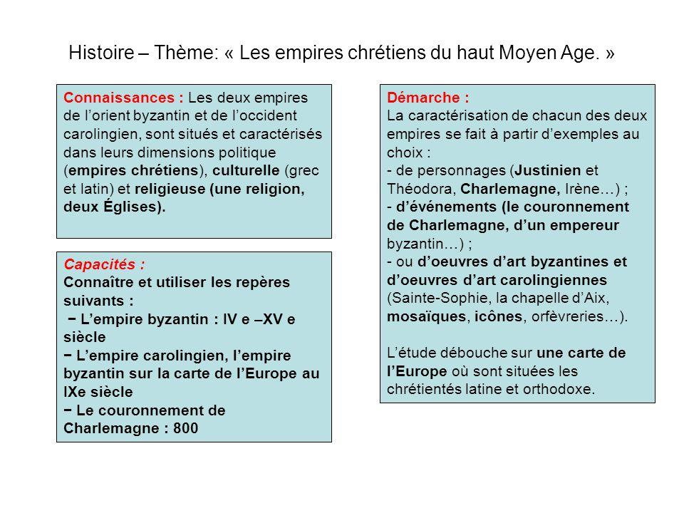 Histoire – Thème: « Les empires chrétiens du haut Moyen Age. »