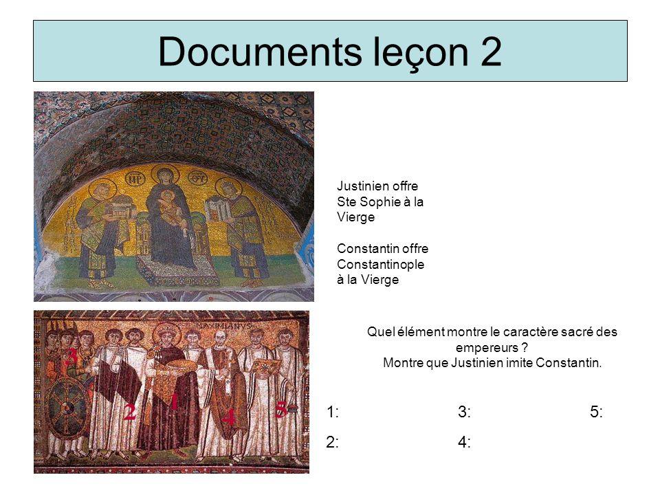 Documents leçon 2 Justinien offre Ste Sophie à la Vierge. Constantin offre Constantinople à la Vierge.