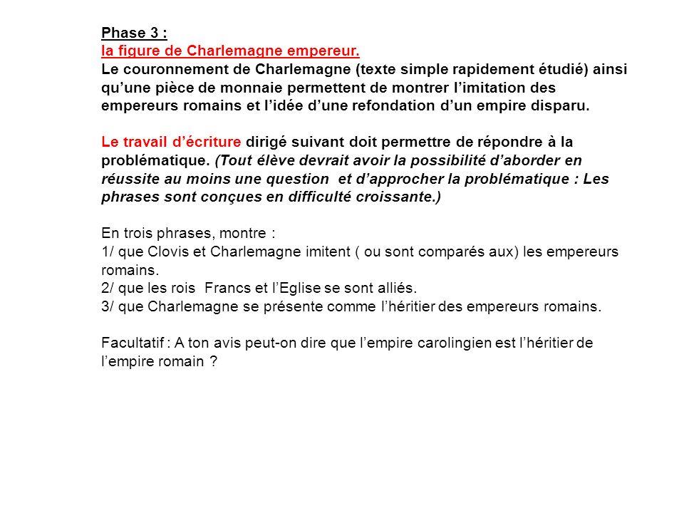 Phase 3 : la figure de Charlemagne empereur.