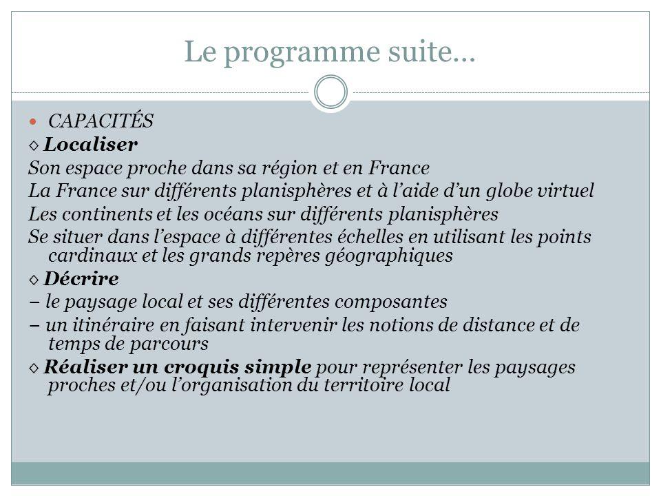 Le programme suite… CAPACITÉS ◊ Localiser