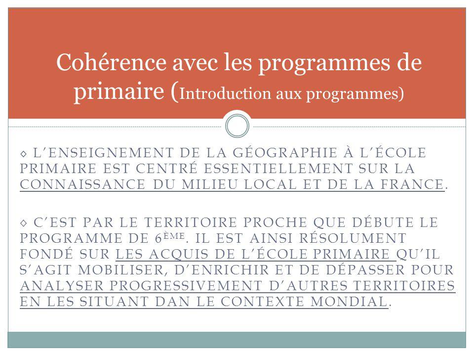 Cohérence avec les programmes de primaire (Introduction aux programmes)