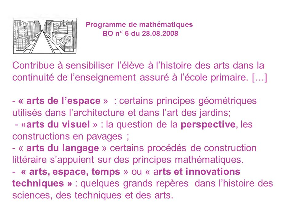 Programme de mathématiques