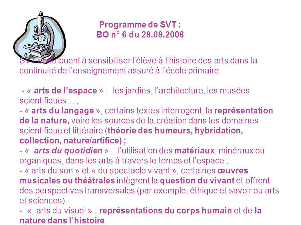 Programme de SVT : BO n° 6 du 28.08.2008