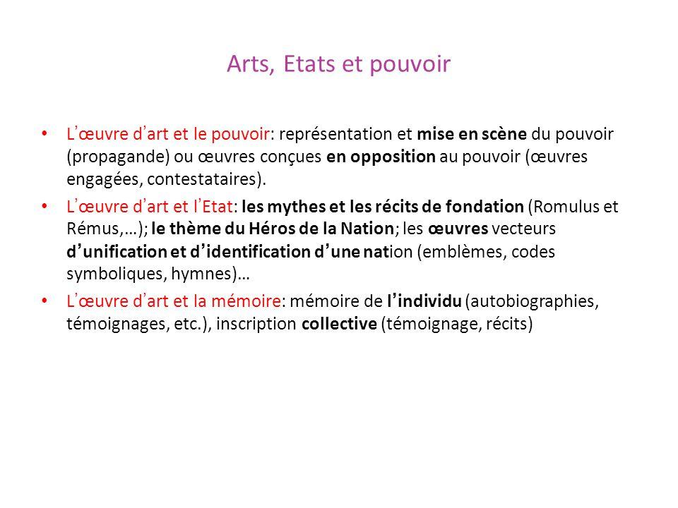 Arts, Etats et pouvoir