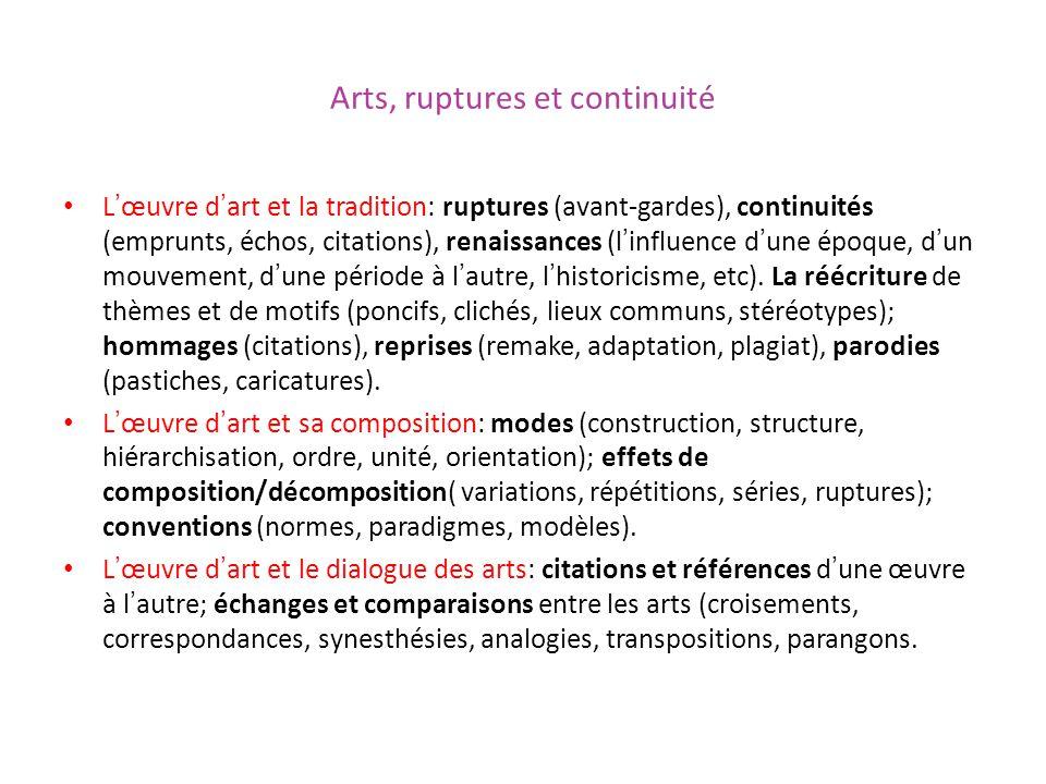 Arts, ruptures et continuité