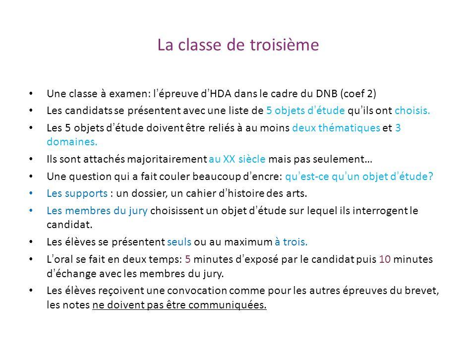 La classe de troisième Une classe à examen: l'épreuve d'HDA dans le cadre du DNB (coef 2)