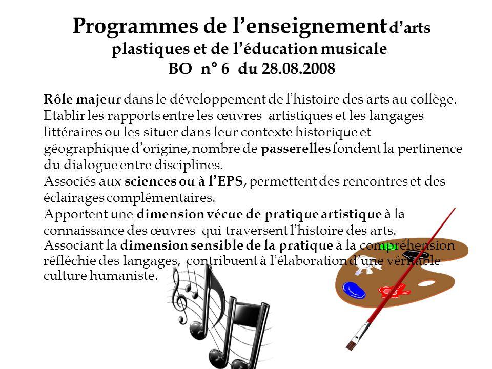Programmes de l'enseignement d'arts plastiques et de l'éducation musicale