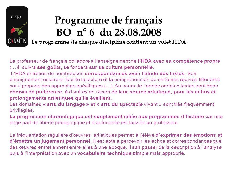 Le programme de chaque discipline contient un volet HDA