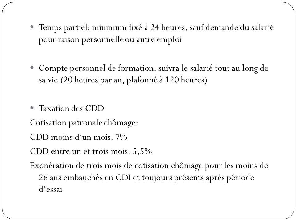 Temps partiel: minimum fixé à 24 heures, sauf demande du salarié pour raison personnelle ou autre emploi