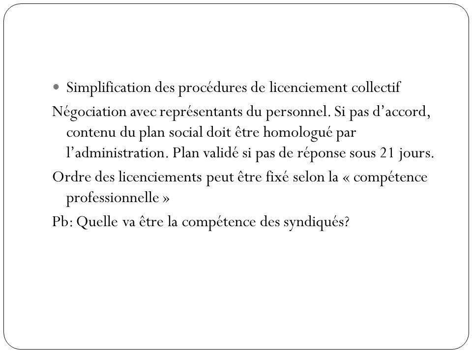 Simplification des procédures de licenciement collectif