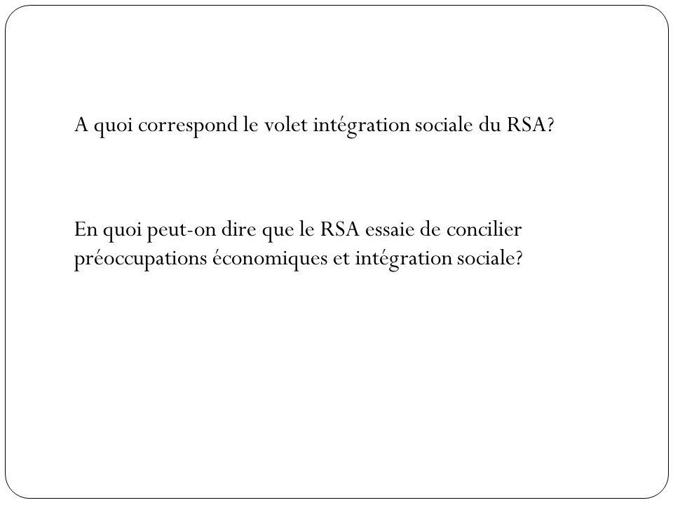 A quoi correspond le volet intégration sociale du RSA