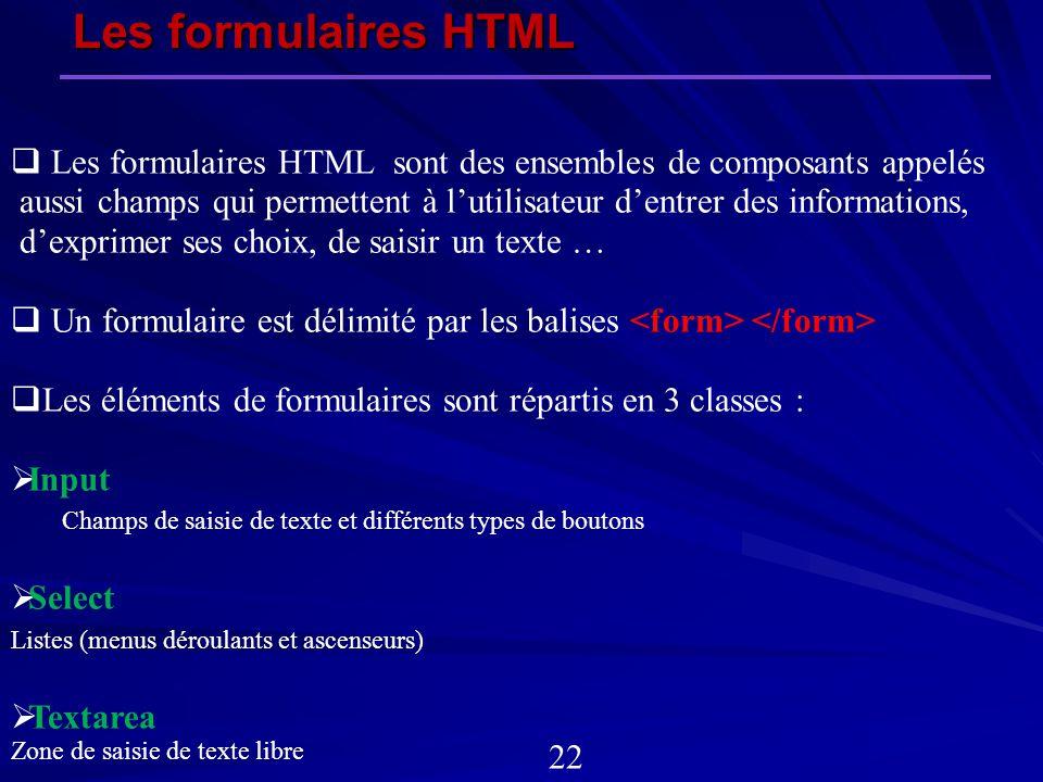 Les formulaires HTML Les formulaires HTML sont des ensembles de composants appelés.