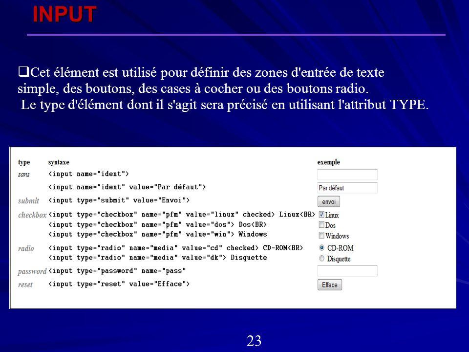 INPUT Cet élément est utilisé pour définir des zones d entrée de texte. simple, des boutons, des cases à cocher ou des boutons radio.