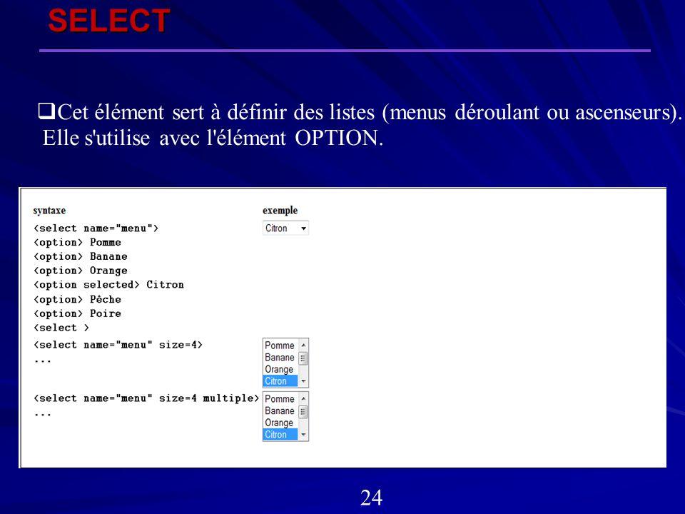 SELECT Cet élément sert à définir des listes (menus déroulant ou ascenseurs). Elle s utilise avec l élément OPTION.