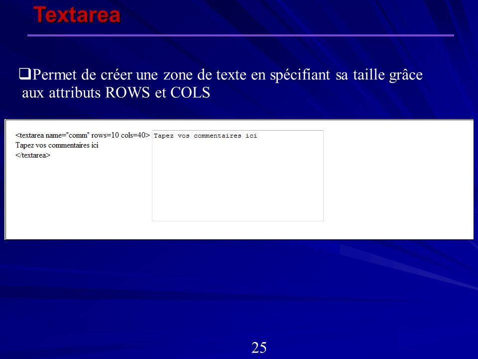 Textarea Permet de créer une zone de texte en spécifiant sa taille grâce. aux attributs ROWS et COLS.