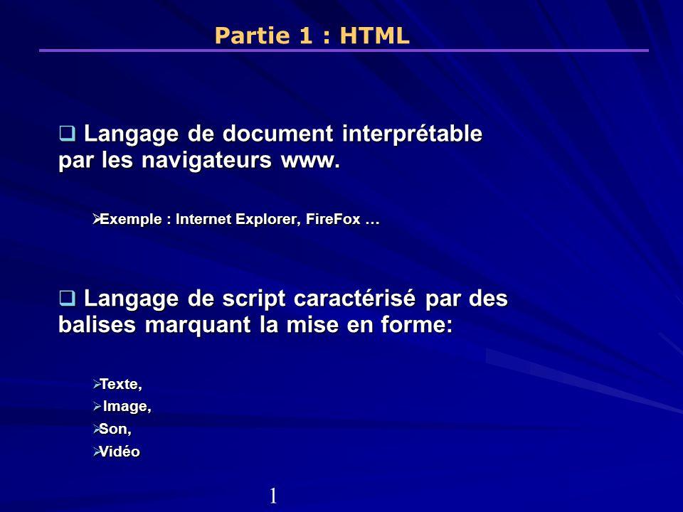 Langage de document interprétable par les navigateurs www.