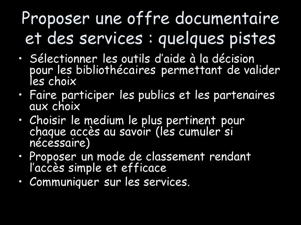 Proposer une offre documentaire et des services : quelques pistes