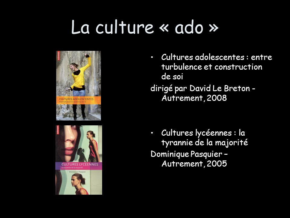 La culture « ado » Cultures adolescentes : entre turbulence et construction de soi. dirigé par David Le Breton -Autrement, 2008.
