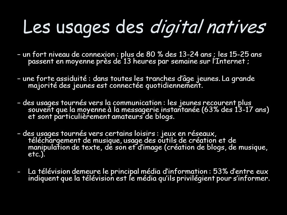 Les usages des digital natives