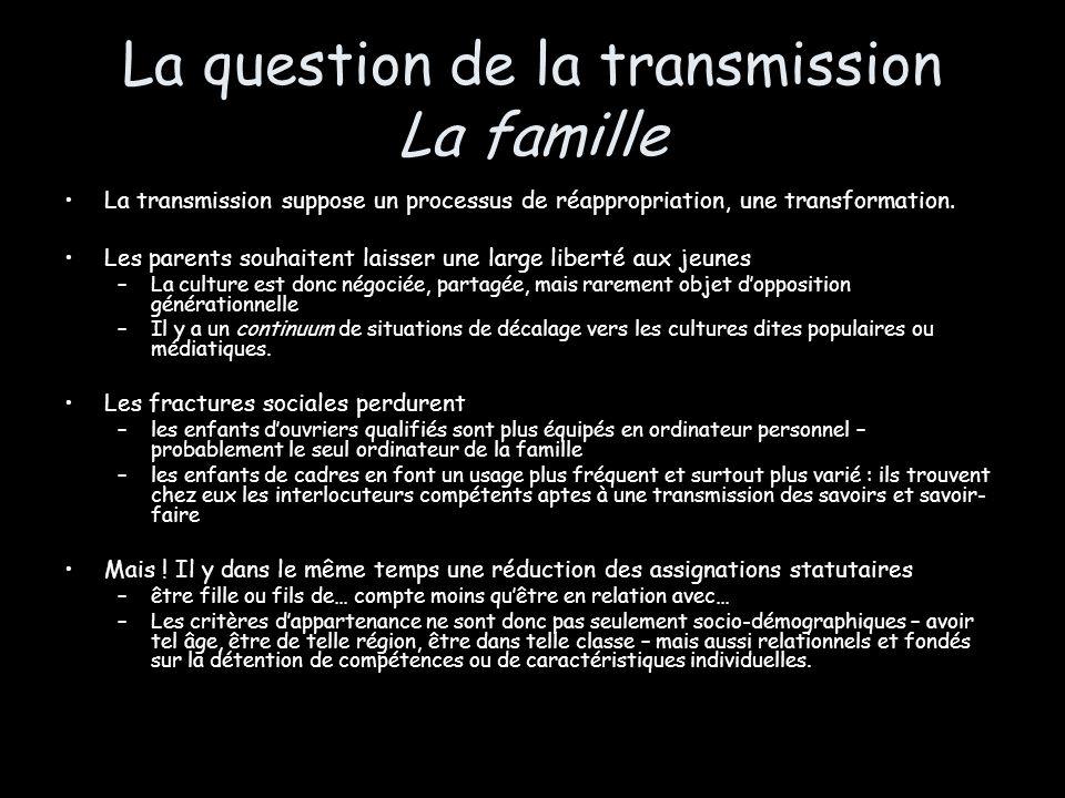 La question de la transmission La famille