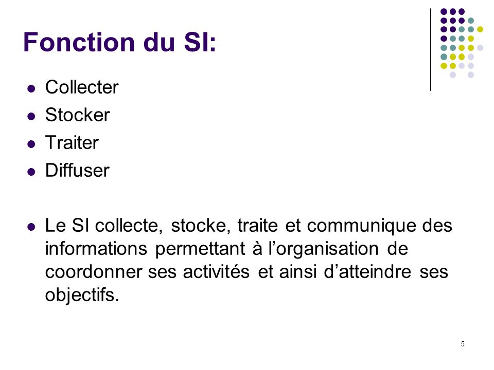 Fonction du SI: Collecter Stocker Traiter Diffuser