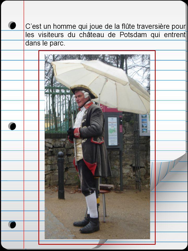C'est un homme qui joue de la flûte traversière pour les visiteurs du château de Potsdam qui entrent dans le parc.