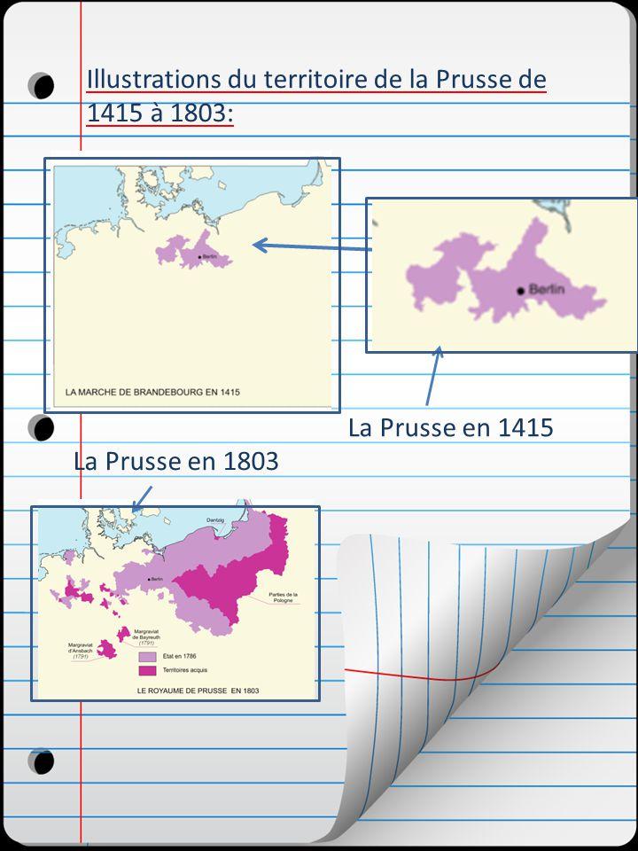 Illustrations du territoire de la Prusse de 1415 à 1803: