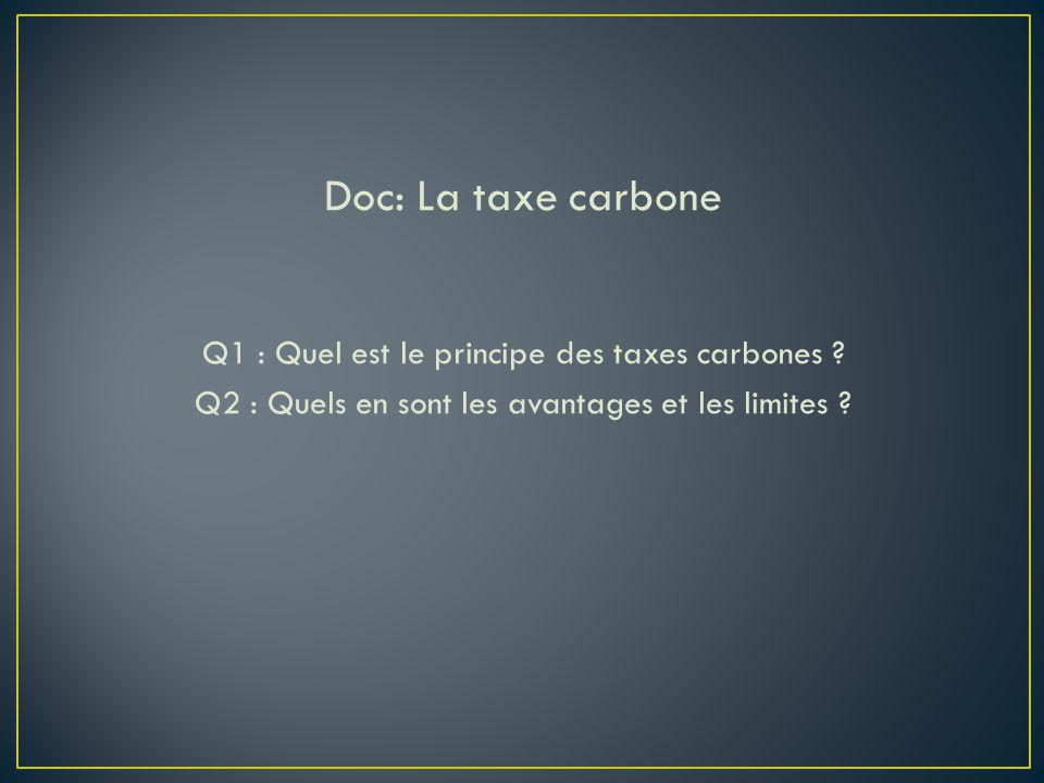 Doc: La taxe carbone Q1 : Quel est le principe des taxes carbones