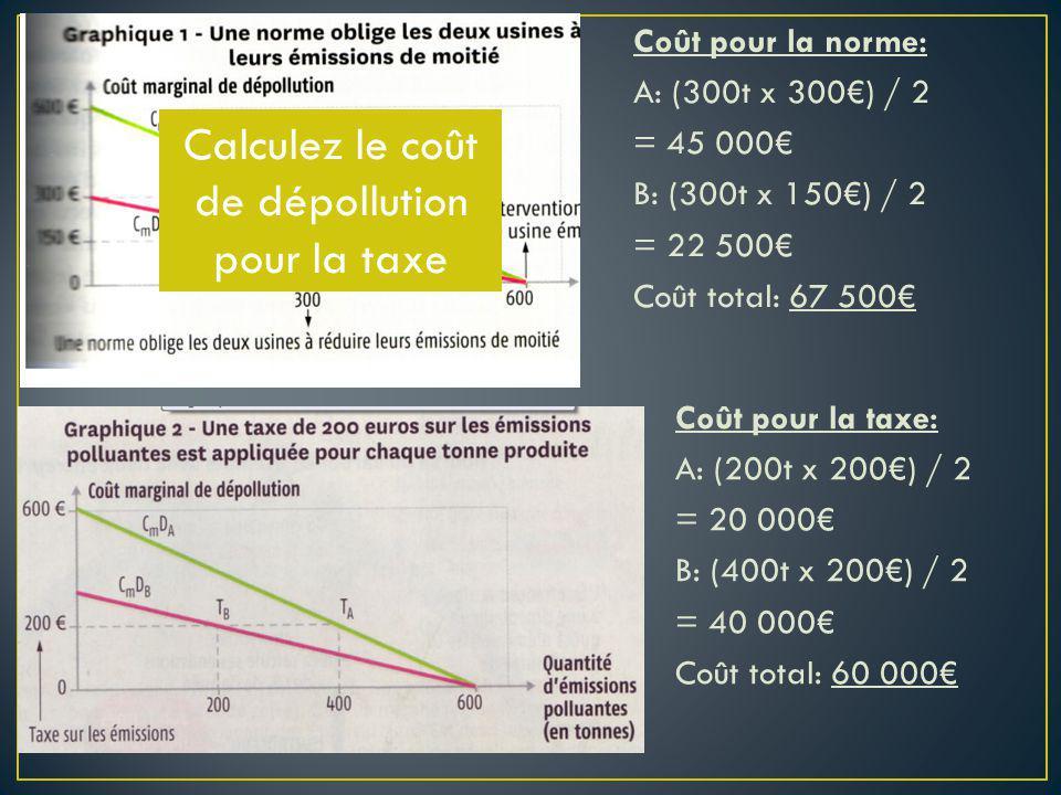 Calculez le coût de dépollution pour la taxe