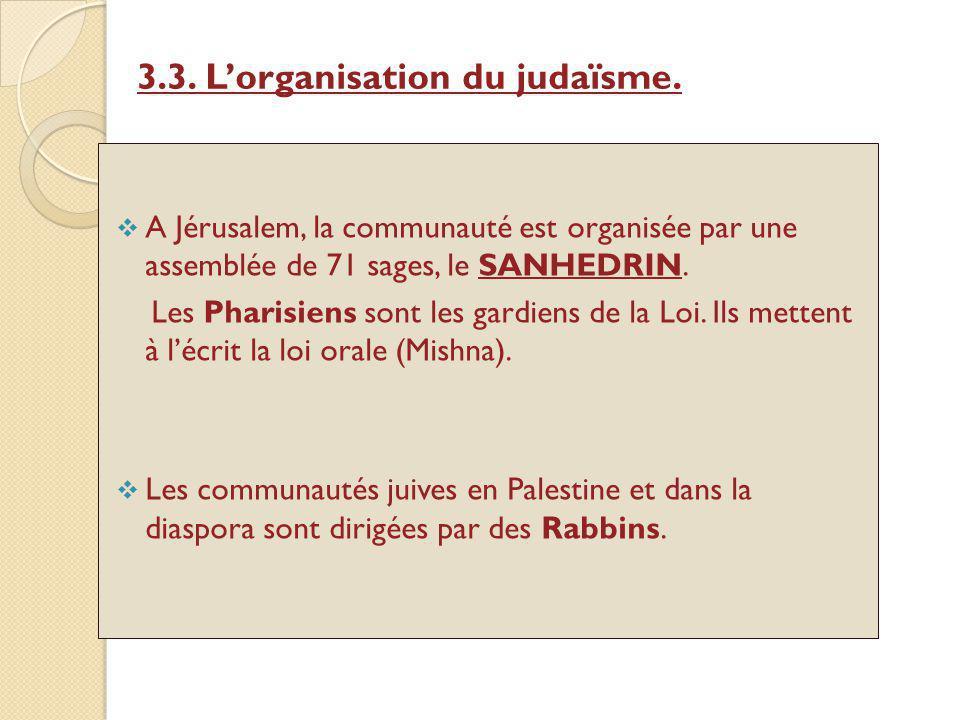 3.3. L'organisation du judaïsme.