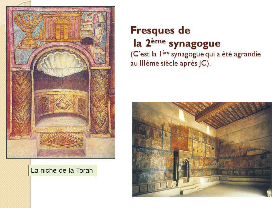 Fresques de la 2ème synagogue (C'est la 1ère synagogue qui a été agrandie au IIIème siècle après JC).