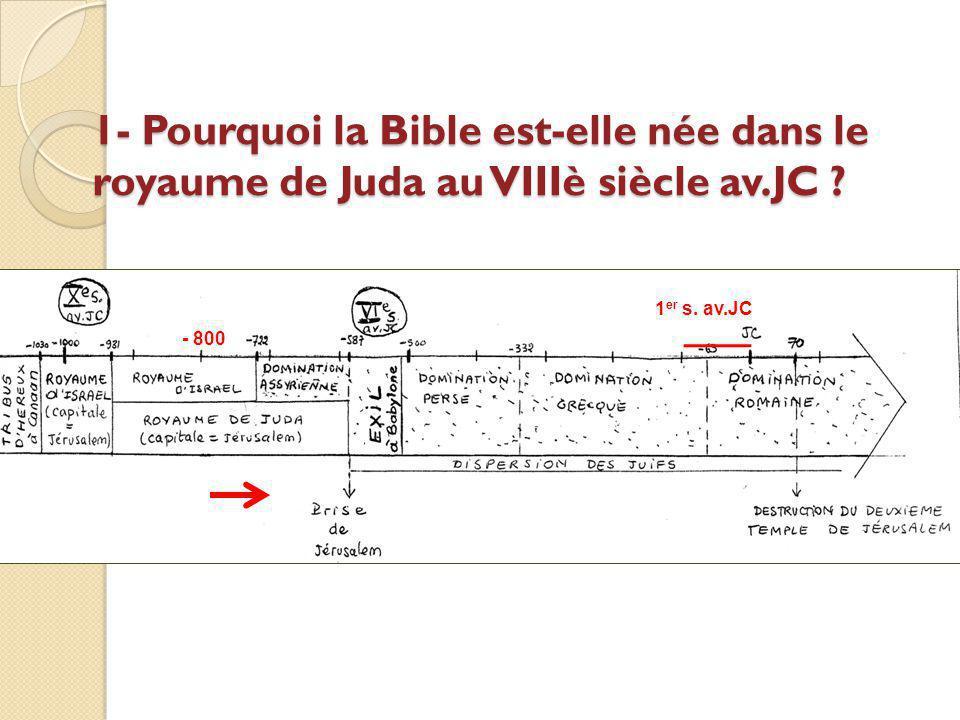1- Pourquoi la Bible est-elle née dans le royaume de Juda au VIIIè siècle av.JC