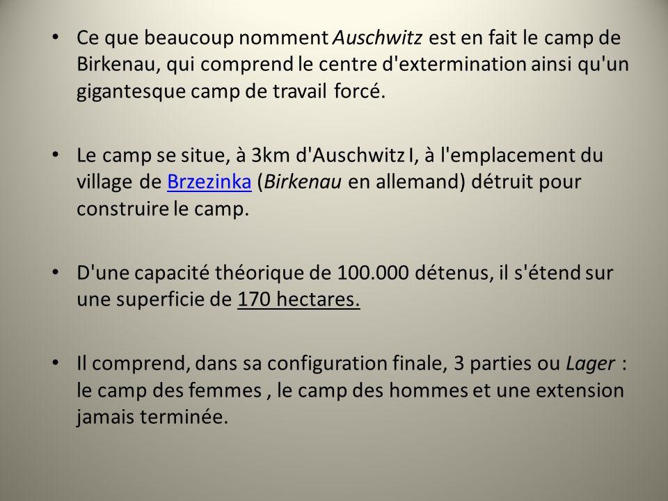Ce que beaucoup nomment Auschwitz est en fait le camp de Birkenau, qui comprend le centre d extermination ainsi qu un gigantesque camp de travail forcé.