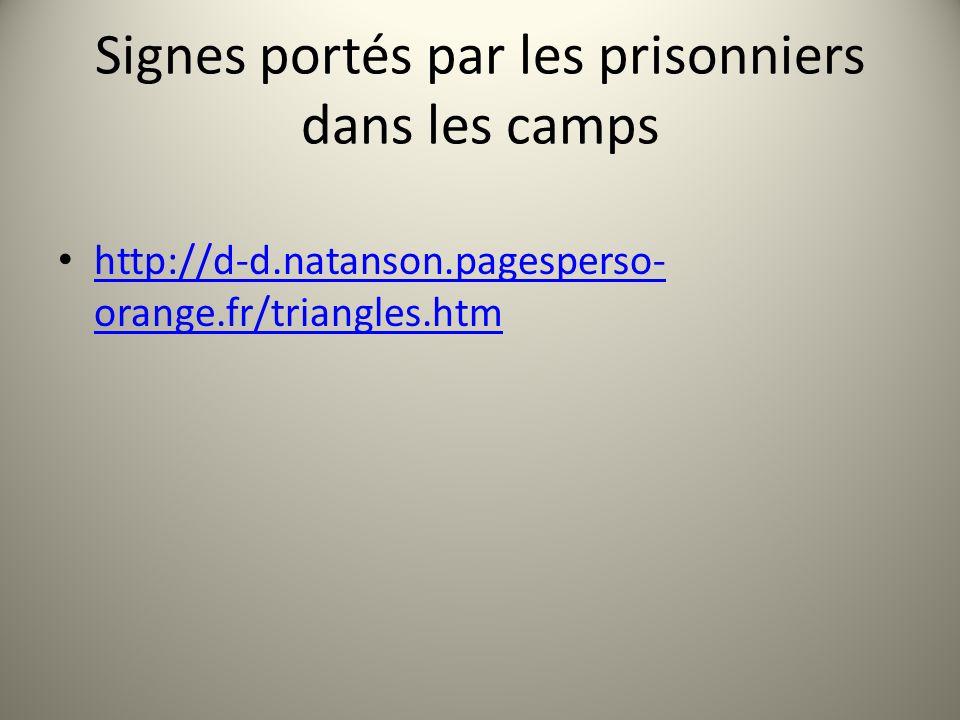 Signes portés par les prisonniers dans les camps
