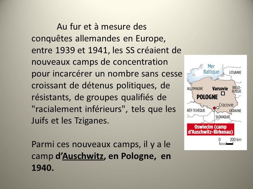 Au fur et à mesure des conquêtes allemandes en Europe, entre 1939 et 1941, les SS créaient de nouveaux camps de concentration pour incarcérer un nombre sans cesse croissant de détenus politiques, de résistants, de groupes qualifiés de racialement inférieurs , tels que les Juifs et les Tziganes.