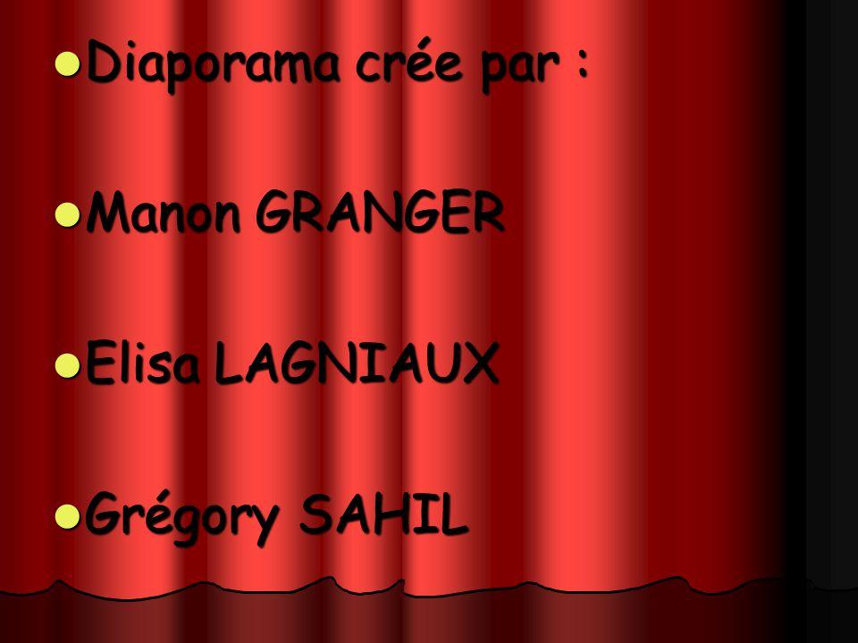 Diaporama crée par : Manon GRANGER Elisa LAGNIAUX Grégory SAHIL